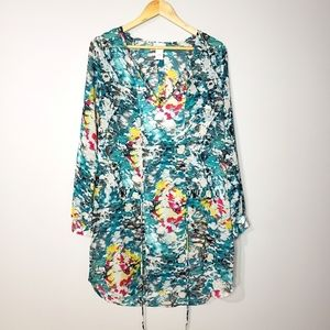 Rubber Ducky Floral Long Sleeve Beach Cover Tunic